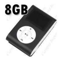 Mini Mp3 Player Com Fm + 8gb Memória+ Cabo Usb + Fone Ouvido