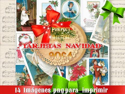 14 Png Navidad Tarjetas Navideñas Vintage Retro Decoupage 2x 189