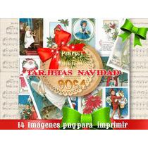 14 Png Navidad Tarjetas Navideñas Vintage Retro Decoupage 2x