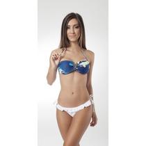 Conjunto De Biquini + Saia Saida De Praia Com Fenda Azul