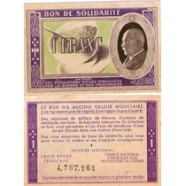 Muy Raro! Bono De Solidaridad Francia Vichy 2 Guerra Mundial