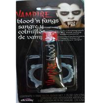 Sangre Falsa En Tubo Y Colmillos Vampiro Halloween Disfraces