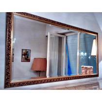 Espejo Biselado Antiguo Marco Madera Tallada Dorado ( P )