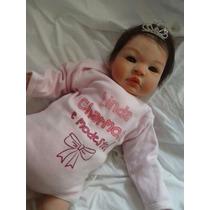 Boneca Bebê Reborn Molde Tata Com Coroa