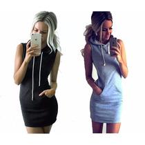 Pack X2 Vestido Hoodie Vestido C/capucha Entallado Mujer 17`