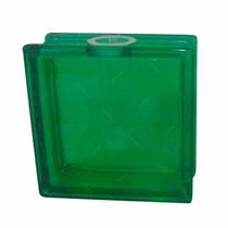 Vaso Castiçal Quadrado Bloco De Vidro Verde Em Vidro