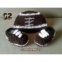 Conjunto Fútbol Americano Zapatos Y Gorro Crochet Tejidos Bb