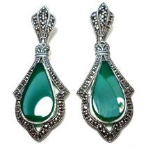 Lfn-brincos Prata 925 Jade Tom Esmeralda Marcassitas