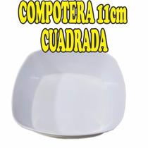 12 Compoteras Cuadradas Melamina Blanca 11cm Bowls Cuenco