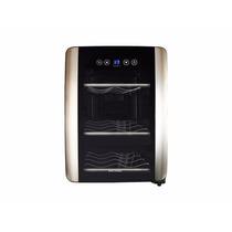 Enfriador Refrigerador Cava De Vinos Para 6 Bot Luz Led