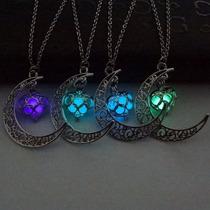 Collar Luna Corazón Luminoso Colgante Brilla En Obscuridad