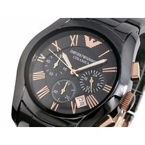 Relógio Empório Armani Ar1410 Ceramica Preto 12x Sem Juros