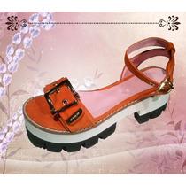 Sandalias De Cuero Con Plataforma -excelente Calidad