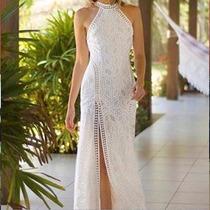 Vestido Tricot Feminino Gola Alta Frente Única Fenda Lateral