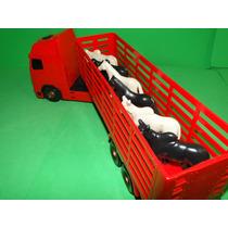 Caminhão Boiadeiro Vermelho Boi Cavalo Comp40cm Larg08cm