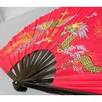 Set De 2 Abanicos 1 Rojo Y 1 Negro De Bambu Funcional Taichi