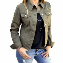 Campera De Jean Verde Militar Con Escudos Mujer The Big Shop