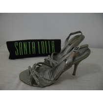 Sandália Santa Lolla Nude Com Dourado Strass Nº 37 / 38