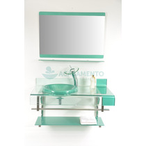 Gabinete Vidro Verde 90cm + Misturador Verde +kit Acessorios