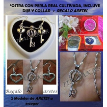 Perla Cultivada En Ostra Real+dije,collar Plata+regaloaretes