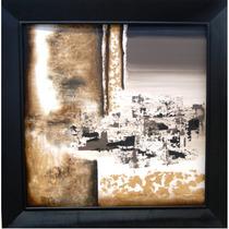 Pintura Abstracta Oro Y Negro Incluye Marco