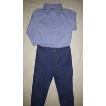 Conjunto Body Camisa Social Com Calça Jeans Bebê 0-2anos