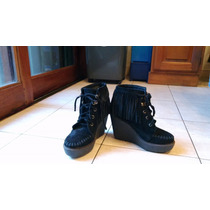 Bota Botineta Zapatos Con Flecos Plataforma