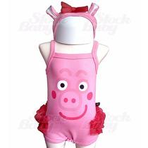 Body Peppa Pig Alcinha Com Tiara Orelhinha E Saia Aplicada