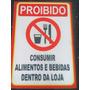 Placa Sinalizadora - Proibido Consumir Alimentos E Bebidas