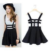 Falda Negra Con Tirantes Tipo Arnés, Moda Asiatica, Kawaii