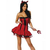 Disfraz Diabla Diablita Sexy Halloween Lenceria Y Envio