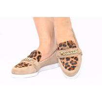 Sapato Tenis Sapatenis Em Couro Bege Confort Onça Esdra