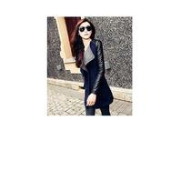 Abrigo Elegante Negro Con Gris Tela/lana Y Cuero Sintético
