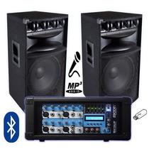 Equipo De Audio Completo Bafles Amplif Usb Bt Cuotas Fijas