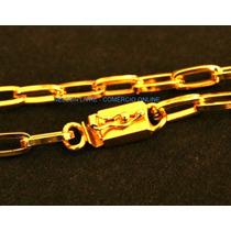 Cordão 70cm + Pulseira Banhados A Ouro - Fecho De Gaveta