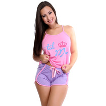Pijama Curto Short Doll Adulto Feminino Blusa Regata C/ Laço