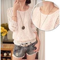 Blusa Camisa Feminina Importada De Renda Moda Fashion