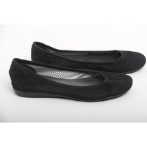 Zapato Flat Negro Piel Sintetico Talla 3.5