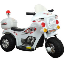 Mini Moto Eletrica Infantil Branca Triciclo Sirene Frente Re