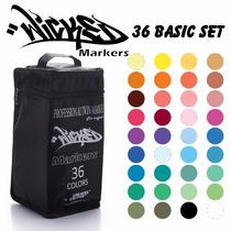 Marcador Plumon Wicked Markers C/36 Basico Diseño Prof.
