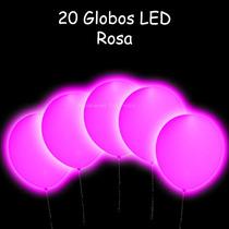 20 Globos Rosas Con Luz Led Para Tus Fiestas Y Eventos