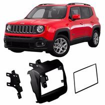 Moldura Painel Central Radio Jeep Renegade Preto Soft 2 Din