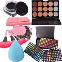 Combo Maquillaje 252 Sombras 15 Correctores Y 24 Brochas
