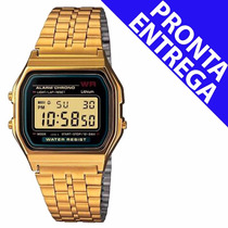 Relógio Masculio Classico Retrô Vintage Dourado Pronta Entre