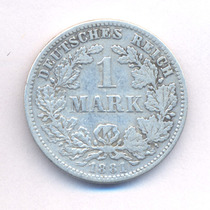 Alemania 1 Mark 1881 D Plata Km 7 Germany Empire Wilhelm I