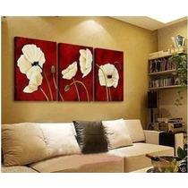 Cuadros Trípticos Florales Pintados Modernos Abstractos