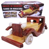 Carro Miniatura De Madeira Enfeitecolecionador 19,5 X 7x7cm