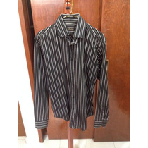 Camisa Zara Man 38 Negro Negro Con Rayas Seminuevas