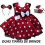Vestido Infantil Festa Minnie Vermelho Com Tiara Minie
