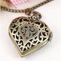 Colar Corrente Coração Relógio Bronze